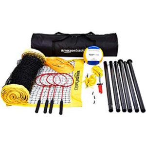 AmazonBasics Outdoor Volleyball and Badminton Combo Set